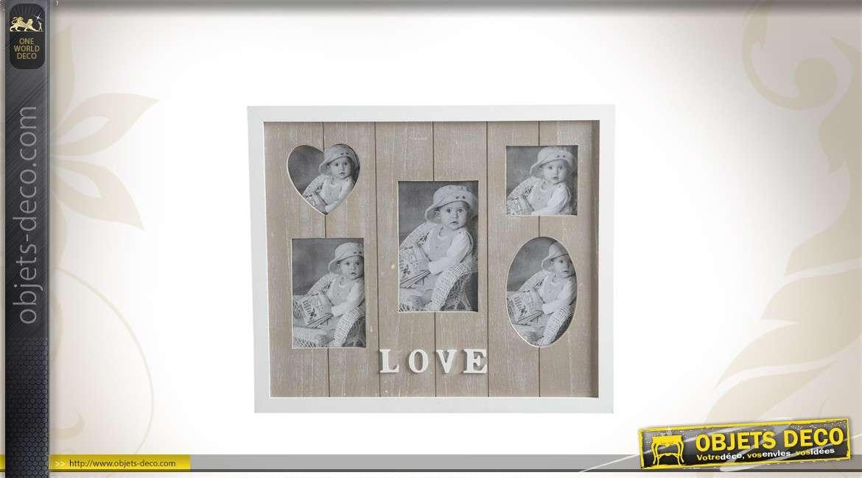Cadre en bois romantique à 5 vues