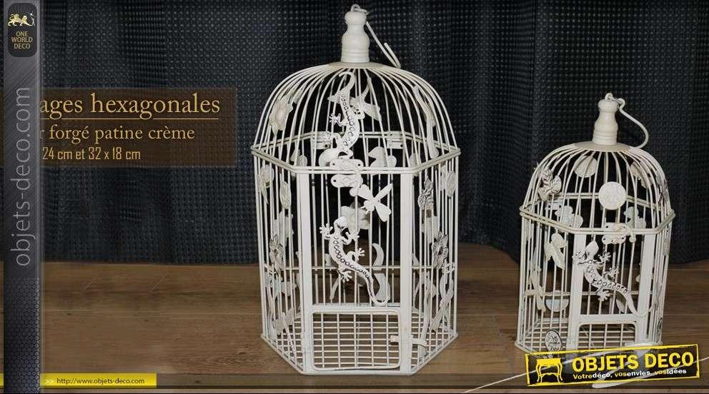 ensemble de cages oiseaux hexagonales. Black Bedroom Furniture Sets. Home Design Ideas
