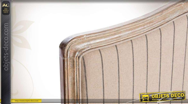 t te de lit en bois et tissu coloris naturel. Black Bedroom Furniture Sets. Home Design Ideas