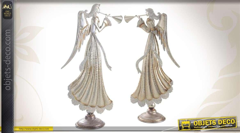 Série de 2 anges or et paillettes 67 cm