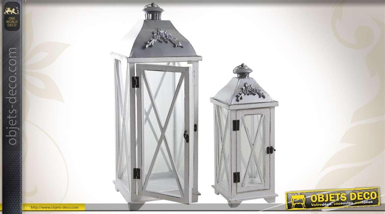 Série de 2 grandes lanternes en bois métal coloris blanc et gris 77 cm