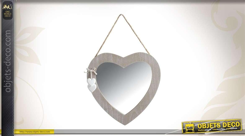 Miroir coeur en verre et bois