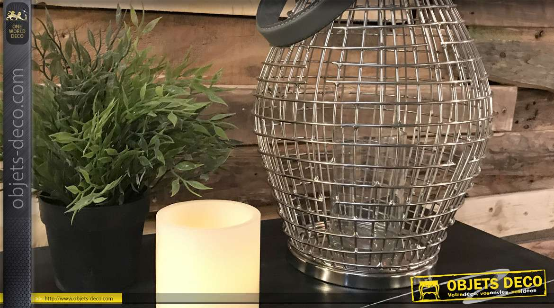 Lanterne bougeoir en métal finition chromé effet brossé, hanse gris anthracite
