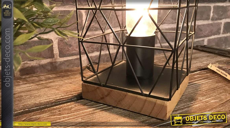 Lampe en métal noir style filaments et base en bois finition naturel 13x13