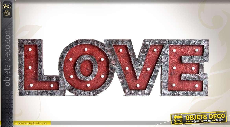 D coration murale lumineuse r tro et romantique love 66 cm for Decoration 66