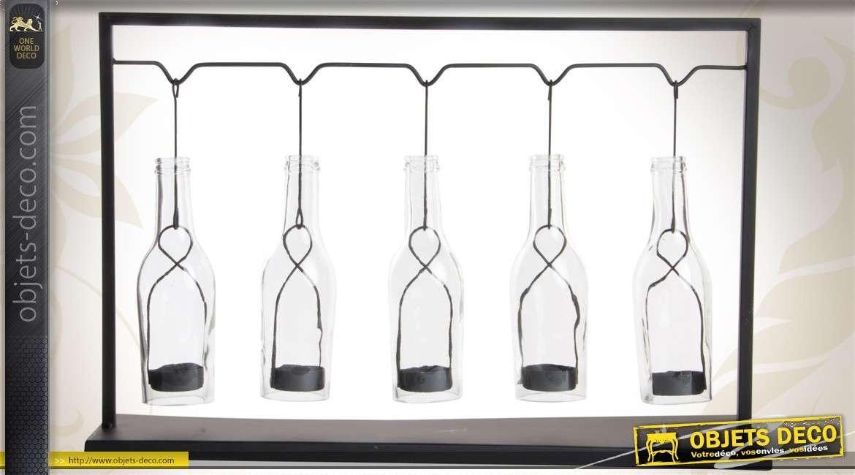 Porte photophores d coratif en verre et m tal pour 5 bougies - Porte bougie en verre ...