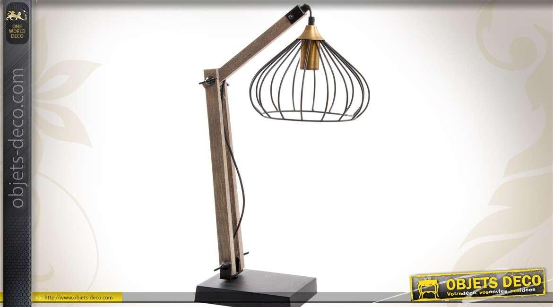 Lampe de bureau de style rétro en bois et métal cm