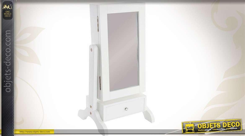 miroir de table meuble range bijoux coloris blanc 56 cm. Black Bedroom Furniture Sets. Home Design Ideas