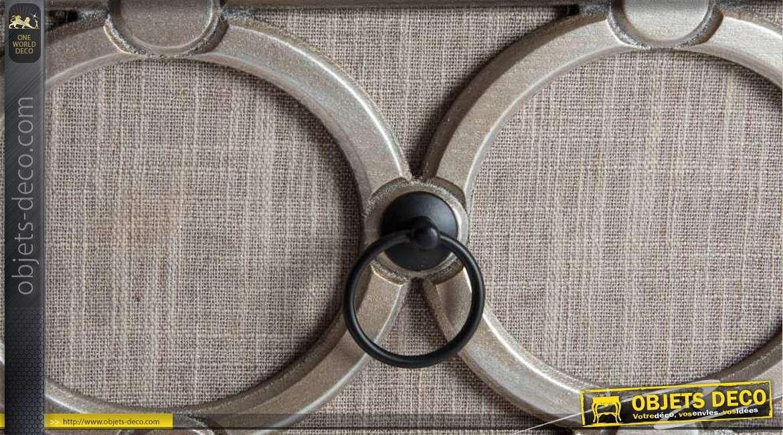 table de chevet gris et argent avec fa ades tissu. Black Bedroom Furniture Sets. Home Design Ideas