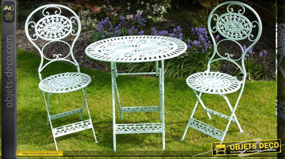 Salon de jardin en fer forg bleu clair for Salon fer forge catalogue