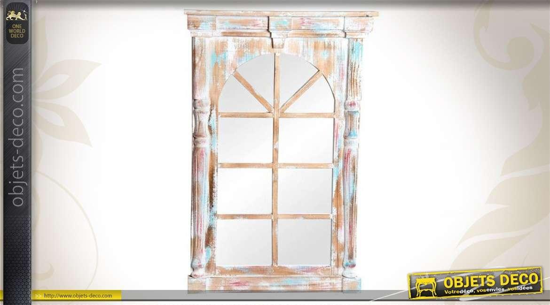 miroir fen tre patine multicolore effet r tro et vieilli 91 cm. Black Bedroom Furniture Sets. Home Design Ideas