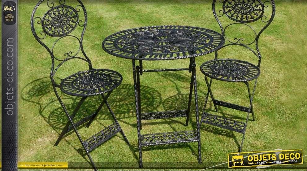 Salon de jardin en fer forgé 3 pièces