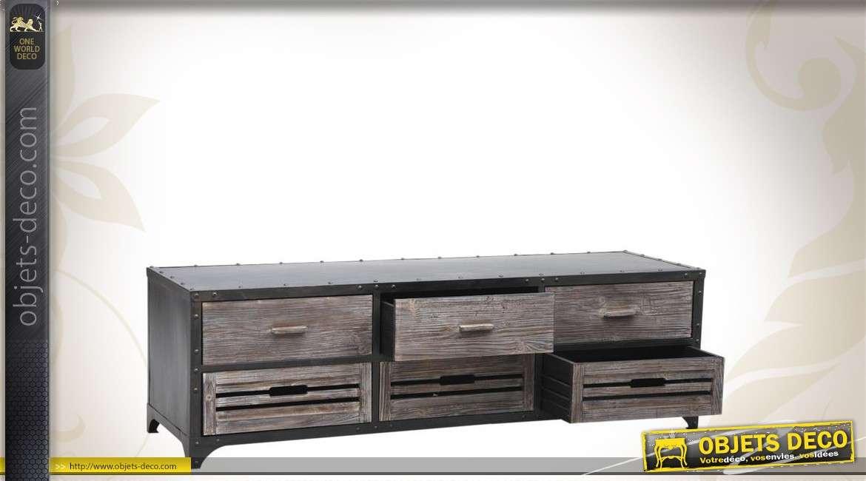 Meuble tv bois et m tal de style industriel - Meuble industriel bois et metal ...