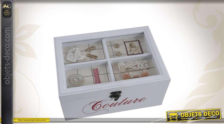 Boîte à couture en bois coloris blanc