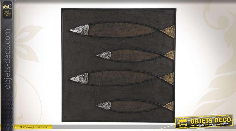 Décoration murale en métal de poissons stylisés