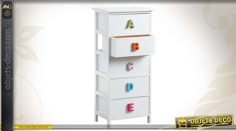 Chiffonnier alphabet en bois laqué blanc
