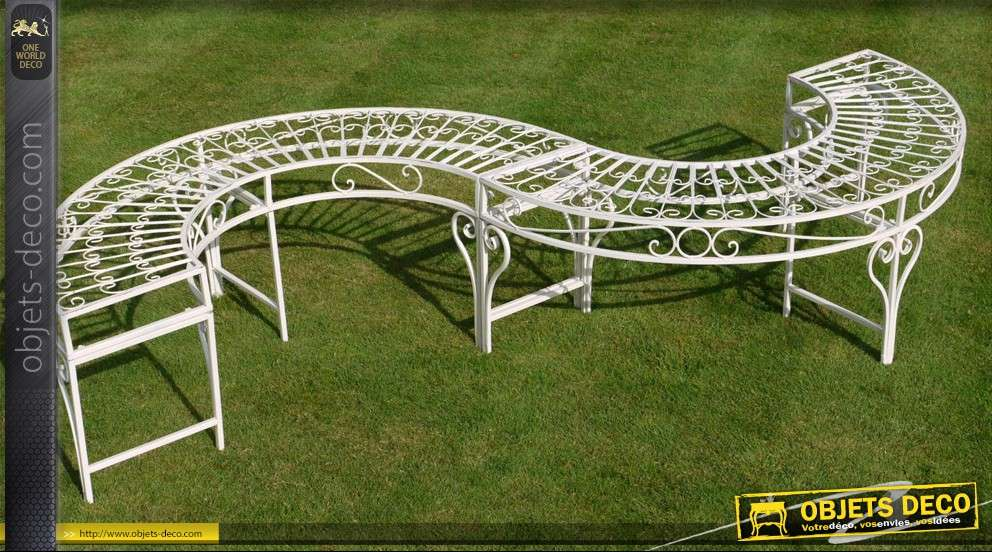 Banc en s en fer forg blanc antique for Banc de jardin en fer forge