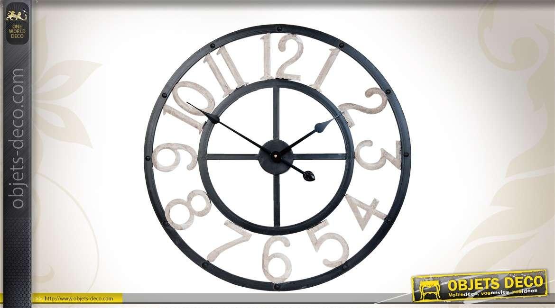 horloge murale 60 cm coloris gris. Black Bedroom Furniture Sets. Home Design Ideas