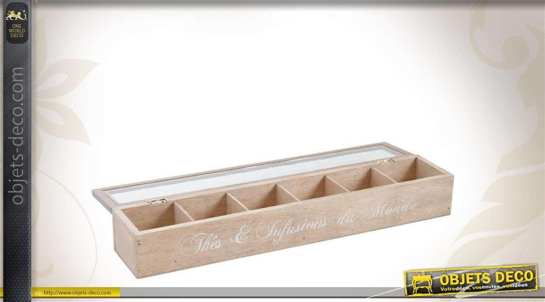 Boîte à thé en bois 6 compartiments