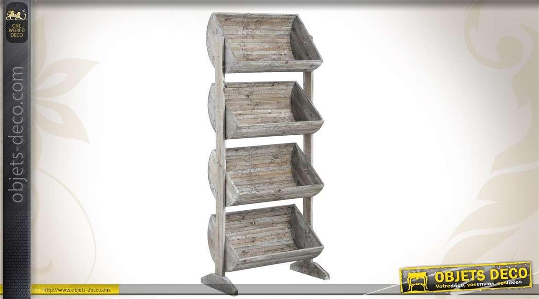 Présentoir en bois à 4 caisses