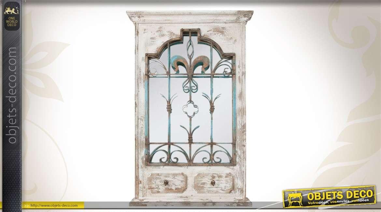 Miroir de style brocante en m tal vieilli effet oxyd 100 cm for Miroir de decoration