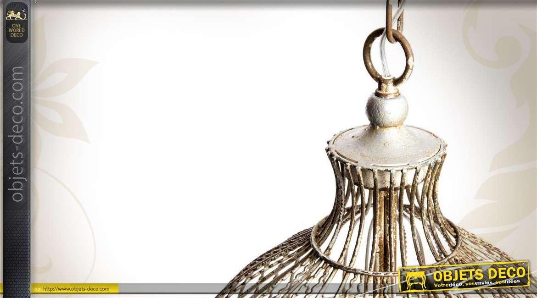 Lustre en forme de grande cage à oiseau de style exotique 74 cm