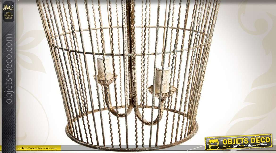 lustre en forme de grande cage oiseau de style exotique 74 cm. Black Bedroom Furniture Sets. Home Design Ideas