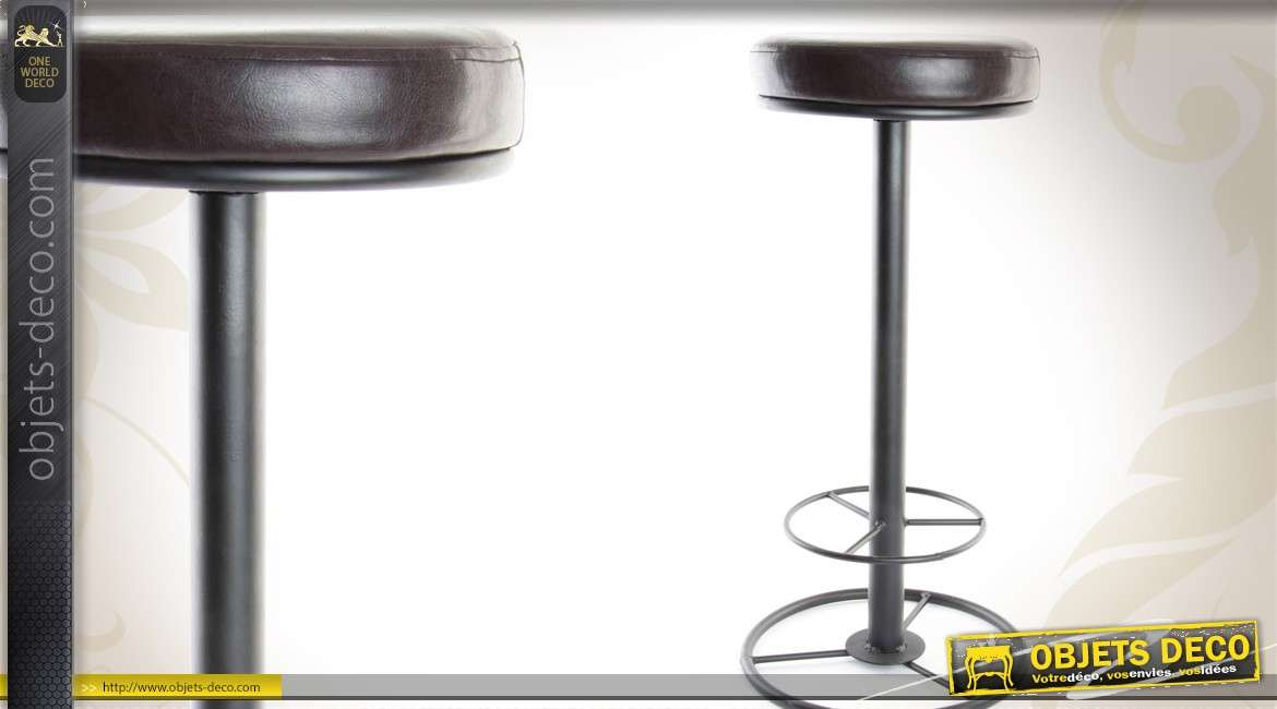 tabouret de bar de style r tro avec assise similicuir 70 cm. Black Bedroom Furniture Sets. Home Design Ideas