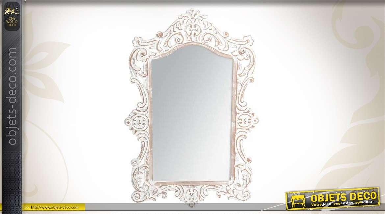 Miroir Horitontal En Bois Blanc Antique De Style Baroque 80 Cm