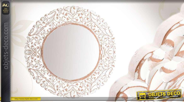 Miroir rond en bois sculpté coloris blanc