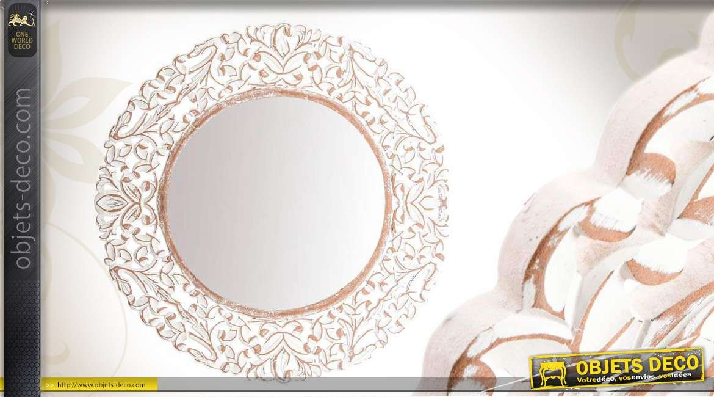 Miroir mural rond ornement blanc style ancien for Miroir blanc vieilli