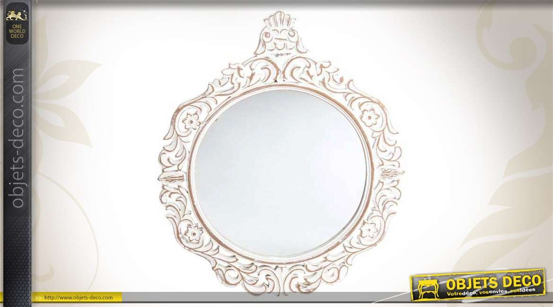 Miroir de style ancien en bois gris perle motifs ajour s for Miroir rond 120 cm