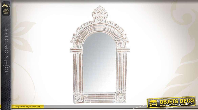 Miroir mural en bois patine cr me vieillie 120 cm for Miroir blanc vieilli