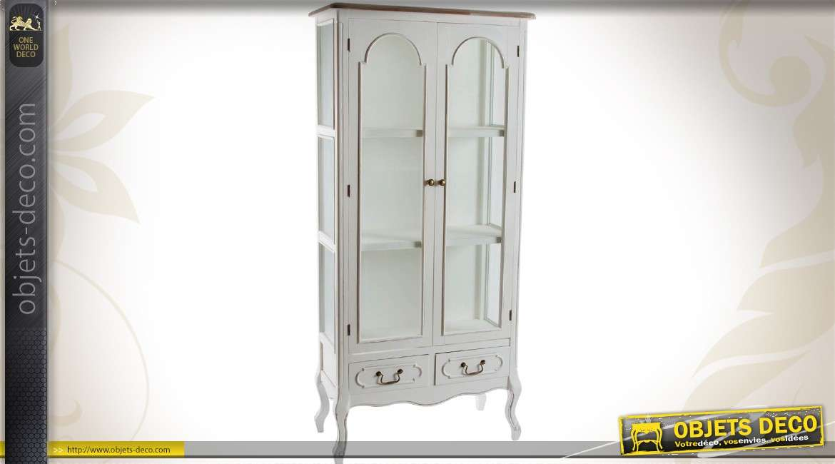 vitrine de style romantique 2 portes et 2 tiroirs. Black Bedroom Furniture Sets. Home Design Ideas