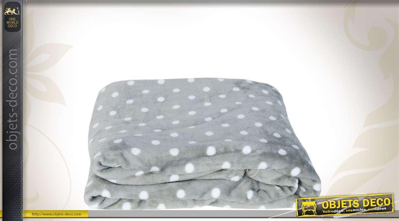 Plaid gris à pois blancs 160 x 210 cm