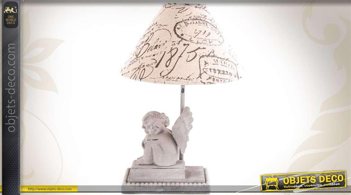 lampe poser style r tro avec statuette d 39 ange 40 cm. Black Bedroom Furniture Sets. Home Design Ideas