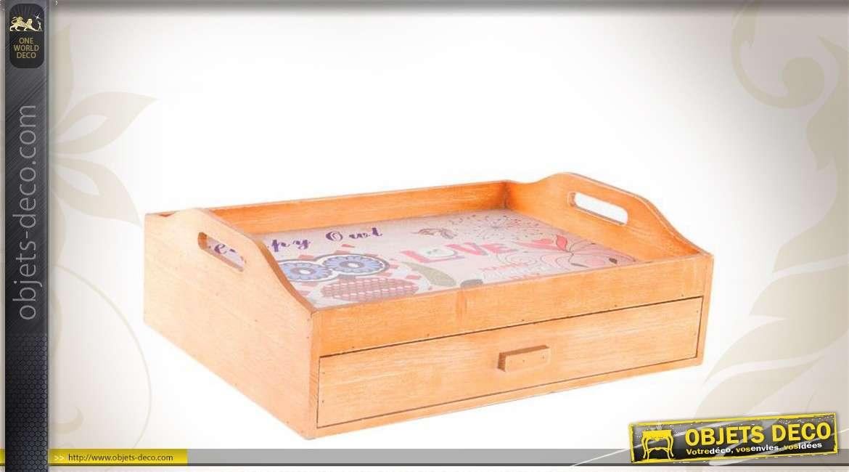 Plateau repas en bois avec tiroir de rangement for Rangement tiroir en bois