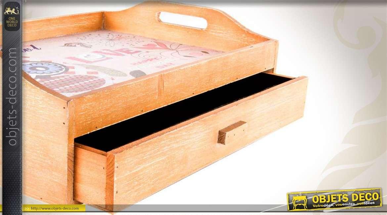 plateau repas en bois avec tiroir de rangement. Black Bedroom Furniture Sets. Home Design Ideas
