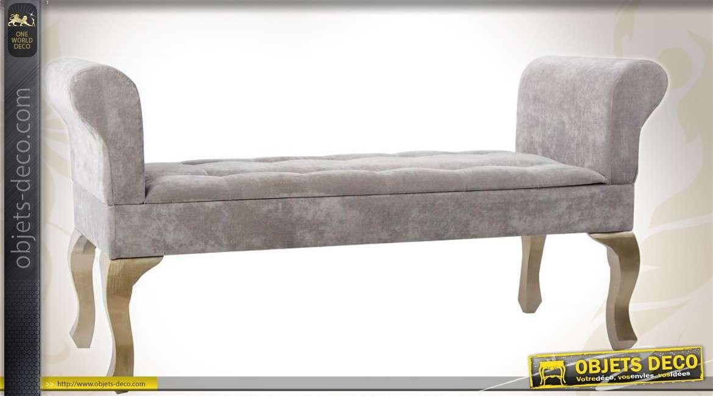 banquette bout de lit velours gris assise capitonn e. Black Bedroom Furniture Sets. Home Design Ideas