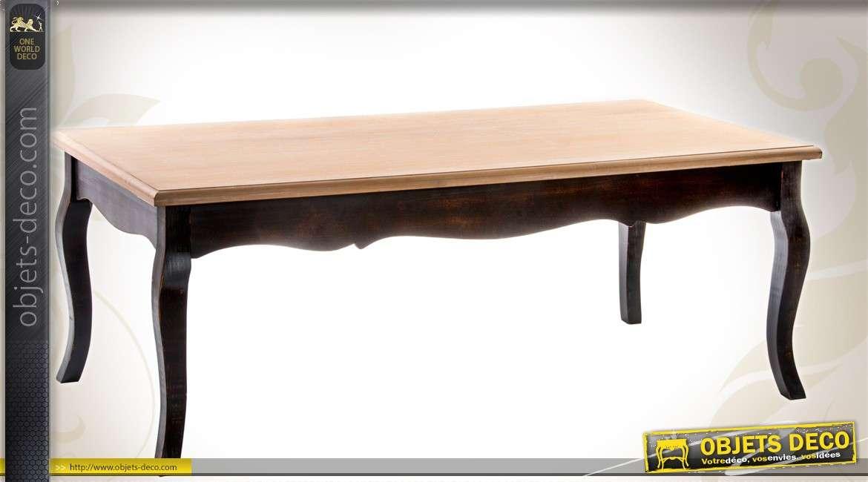 Table basse style louis xv patine noire et plateau bois - Table basse bois patine ...