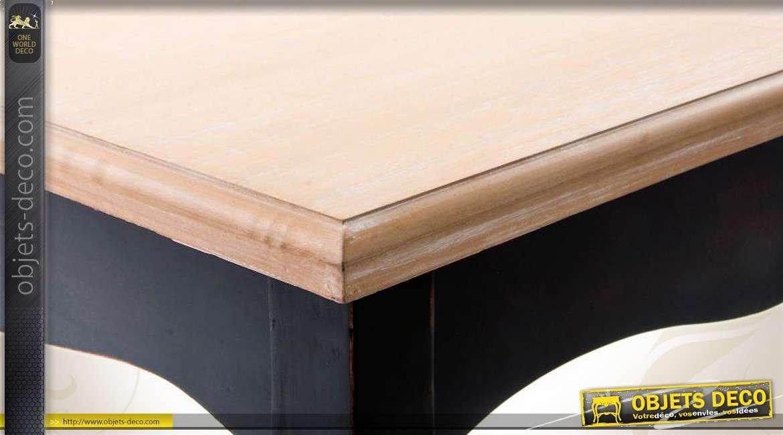 table basse style louis xv patine noire et plateau bois naturel. Black Bedroom Furniture Sets. Home Design Ideas