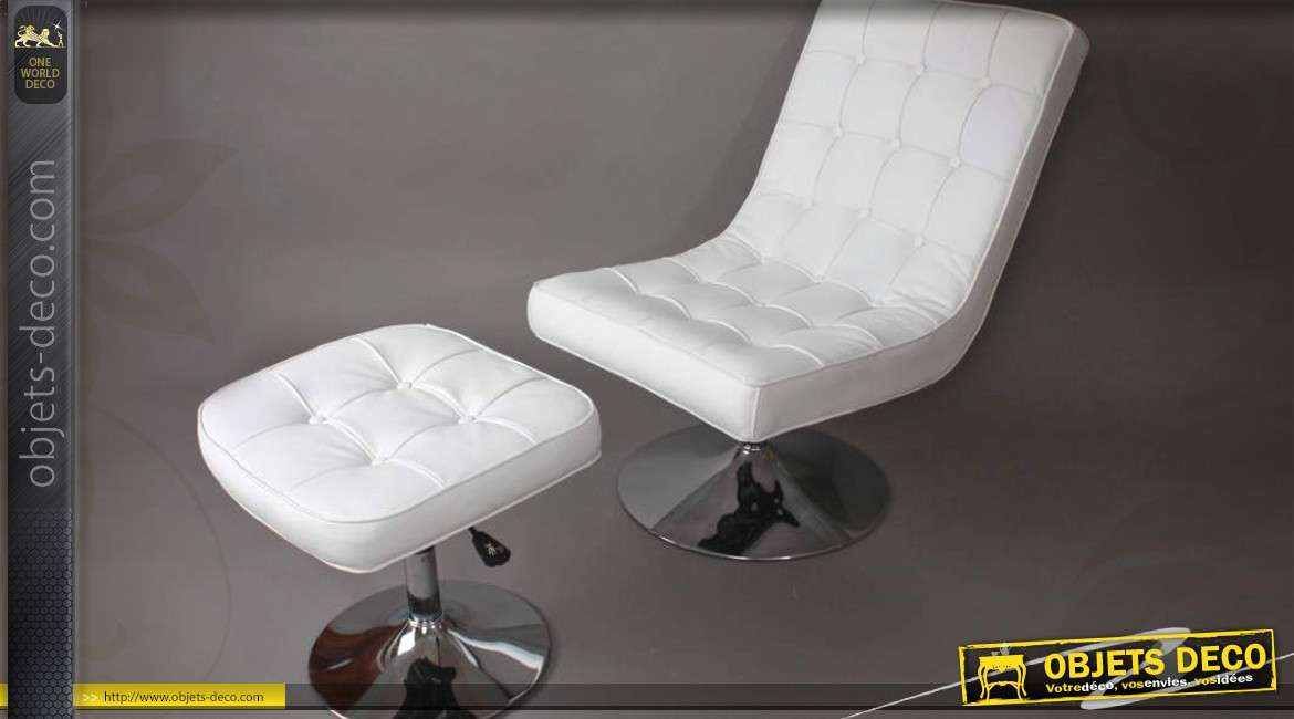 fauteuil relax et repose pieds similicuir blanc pi tement chrom. Black Bedroom Furniture Sets. Home Design Ideas