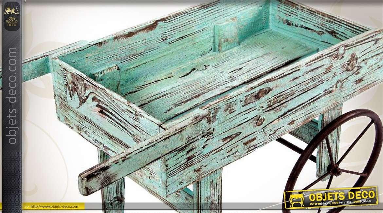 Brouette rétro jardinière en bois patine bleu turquoise vieilli