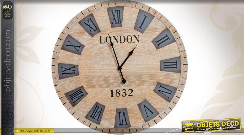 horloge murale en bois london 1832 effet c rus 60 cm. Black Bedroom Furniture Sets. Home Design Ideas