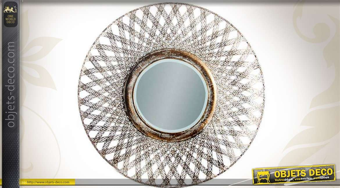 Grand miroir d co mural en m tal effet vieilli 81 cm for Grand miroir metal