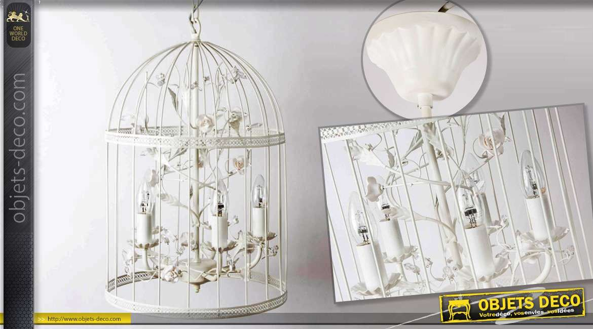 lustre cage oiseaux coloris blanc 5 feux lumineux. Black Bedroom Furniture Sets. Home Design Ideas