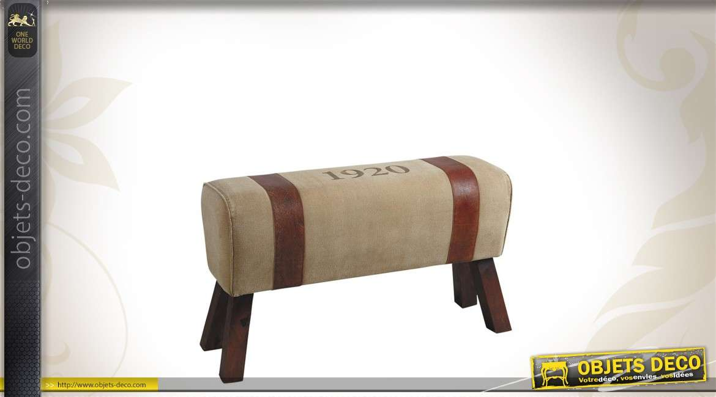 Banc en bois, coton et cuir style vintage