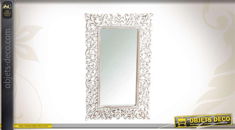 Miroir ornement style ancien coloris blanc patin for Miroir style