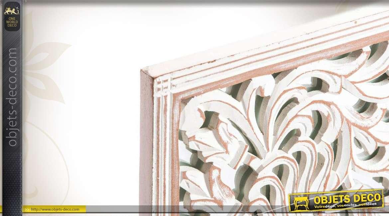 D coration murale en bois et verre coloris blanc - Deco murale en bois ...