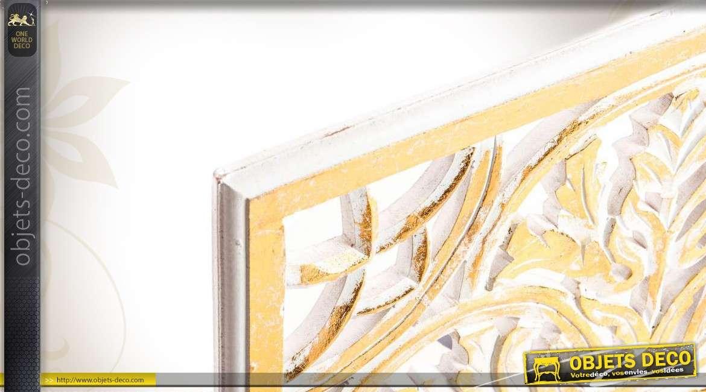 D coration murale en bois sculpt coloris blanc et dor for Decoration murale bois sculpte